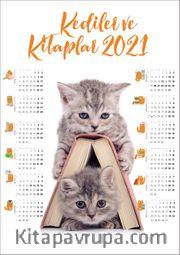 2021 Takvimli Poster - Kediler ve Kitaplar - Kitap Ev