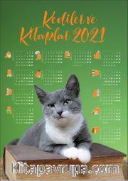 2021 Takvimli Poster - Kediler ve Kitaplar - Yesil