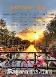 2018 Takvimli Poster - Şehirler - Amsterdam